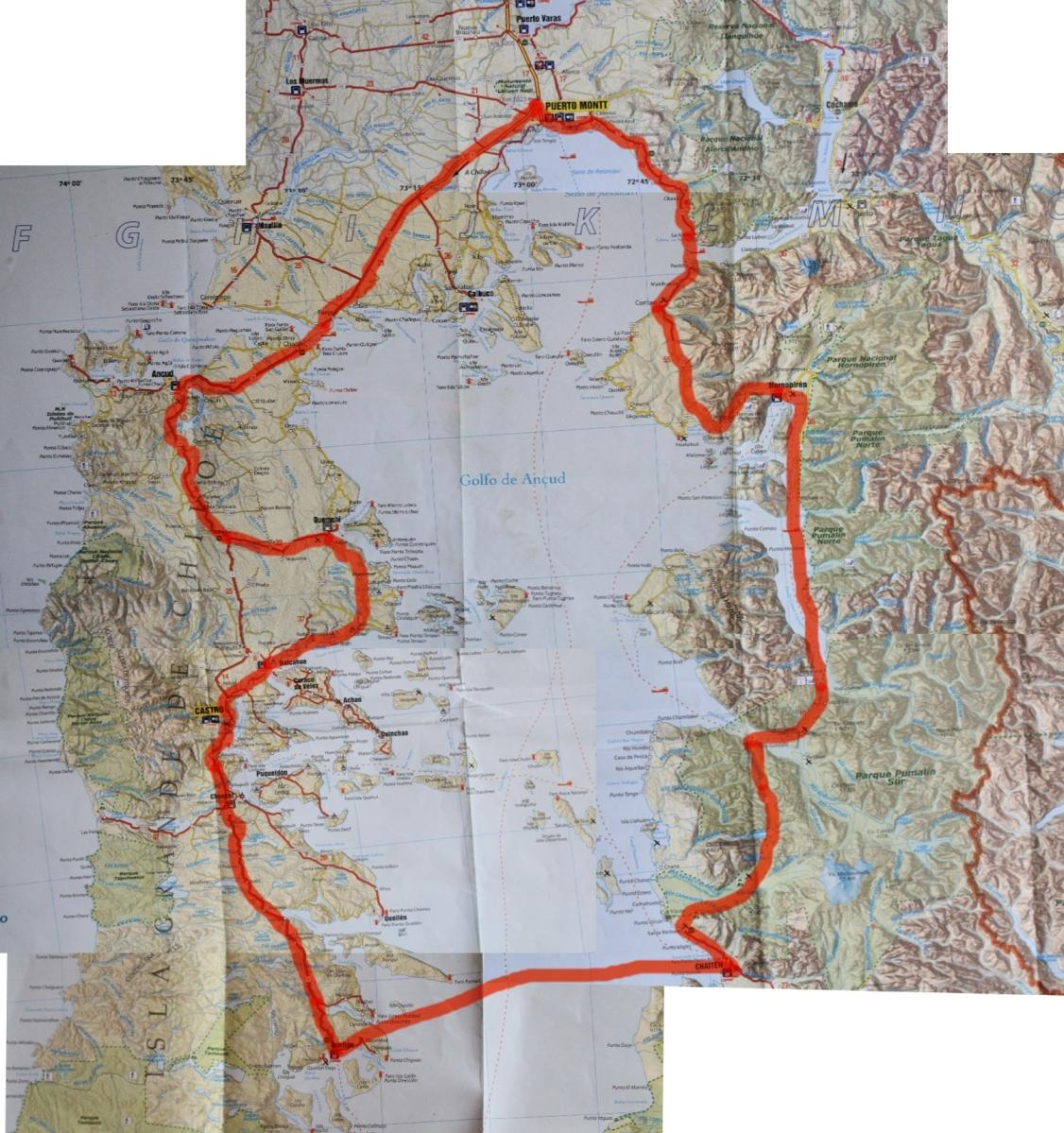 Circuito W Mapa : Circuito pto montt mapa marcado alforjeando chile